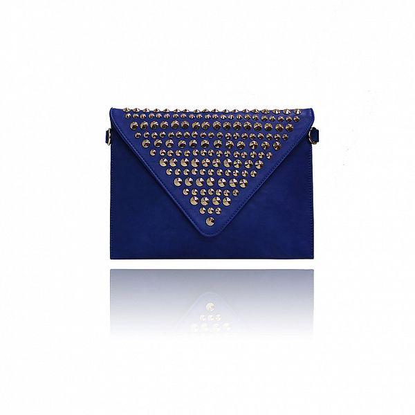 Dámské modré psaníčko London Fashion s kovovými cvoky
