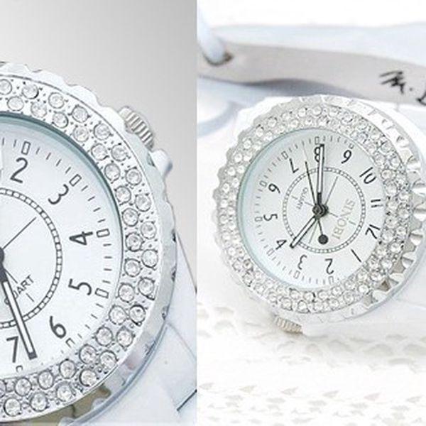 Luxusné hodinky SINOBI v bielej farbe s kamienkami a bielym kovovým remienkom, ktoré sú krásnym doplnkom k šatám do divadla, alebo inú spoločenskú udalosť!