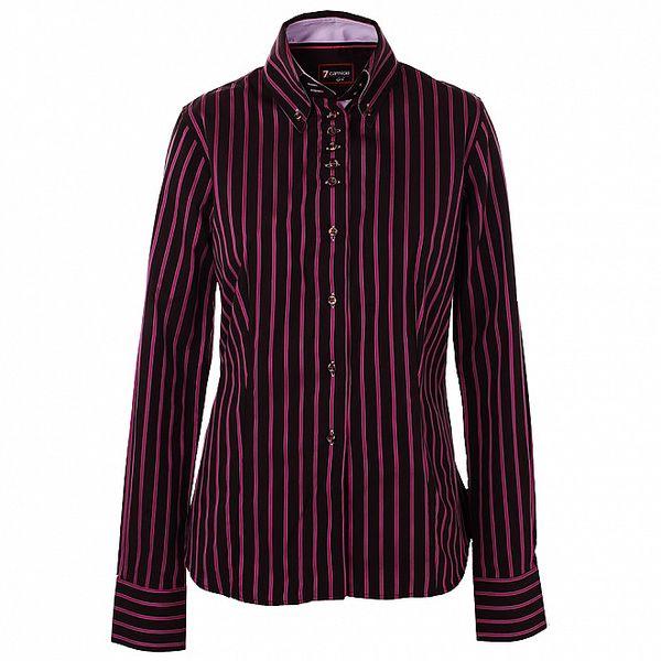 Dámska čierna košeľa 7camicie s ružovými prúžkami