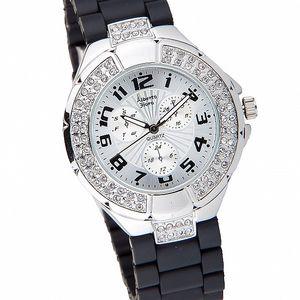 Dámske strieborné hodinky Bague a Dames s čiernym silikonovým remienkom