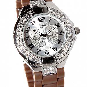 Dámske strieborné hodinky Bague a Dames s hnedým silikonovým remienkom