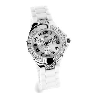 Dámske strieborné hodinky Bague a Dames s bielym silikonovým pásikom a zirkónmi