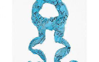 Dámský modrý šátek s potiskem květin a lístků Bella Rosa