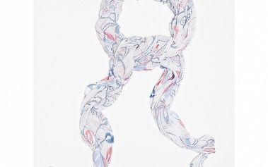 Dámska biela šatka s kvetinovo-čiarkovaným vzorom Bella Rosa