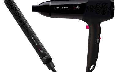 Výhodný set Rowenta, který se skládá z fénu na vlasy CV 4942 a z vlasové žehličky SF 1032.
