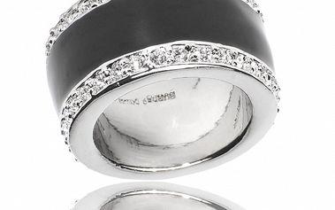 Dámsky strieborný prsteň Bague a Dames s čiernym perleťovým prúžkom a zirkónmi