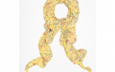 Dámska žltá šatka s kvetinovo-čiarkovaným vzorom Bella Rosa