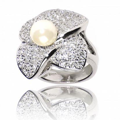 Dámsky strieborný prsteň Bague a Dames s perlovým motívom