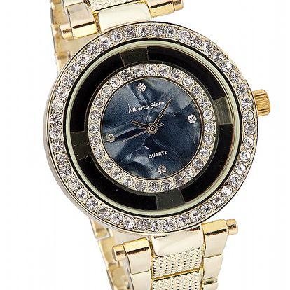 Dámske zlato-čierne hodinky Bague a Dames s kamienkami