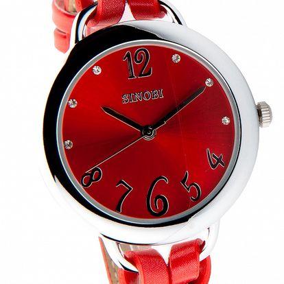 Dámske červené hodinky Bague a Dames s koženým remienkom