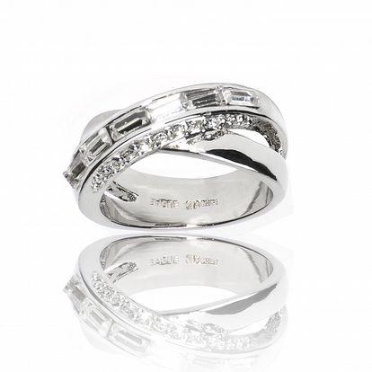 Dámsky strieborný prsteň Bague a Dames so zirkónmi a kryštálmi