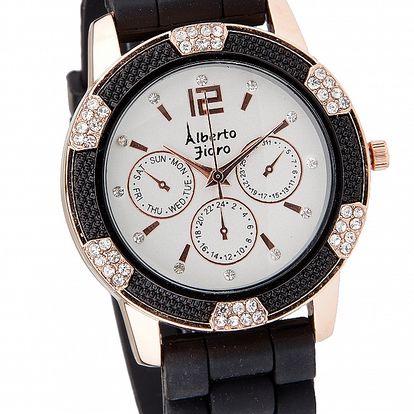 Dámske čierno-zlaté hodinky Bague a Dames s kamienkami a silikonovým remienkom