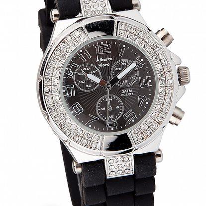 Dámske čierno-strieborné hodinky Bague a Dames so silikonovým remienkom a kamienkami
