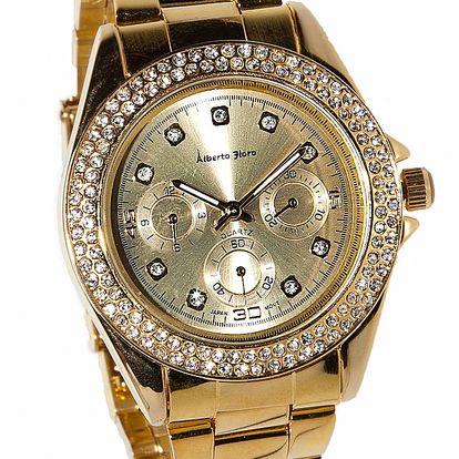 Dámske zlaté hodinky Bague a Dames s kamienkami