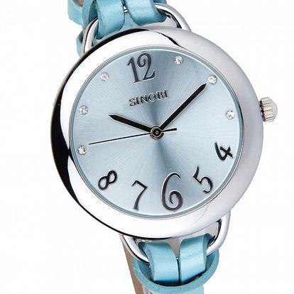 Dámske svetlo modré hodinky Bague a Dames s koženým remienkom