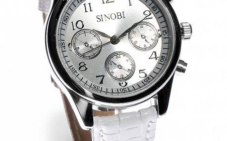 Dámske strieborné hodinky Bague a Dames s bielym koženým remienkom