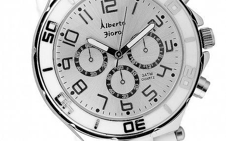 Dámske bielo-strieborné hodinky Bague a Dames so silikonovým remienkom