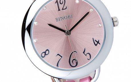 Dámske ružové hodinky Bague a Dames s koženým remienkom