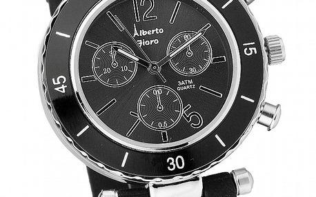 Dámske čierno-strieborné hodinky Bague a Dames so silikonovým remienkom
