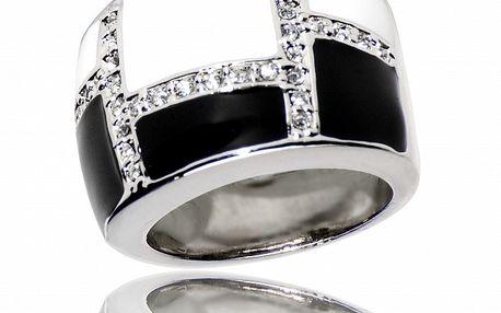 Dámsky čierno-biely prsteň Bague a Dames s bielymi zirkónmi