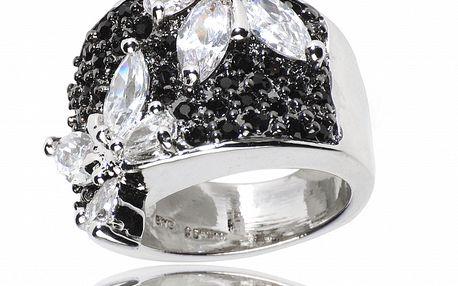 Dámsky strieborný prsteň Bague a Dames s čiernymi zirkónmi a bielymi kryštálmi