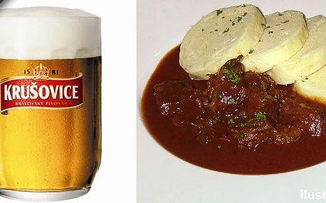 2x poctivý maďarský gulášek s knedlíkem pro gurmány, 2x polévka a 4 piva 0,5 l!! Vše jen za 199 Kč!! Kupon za 39 Kč na skvělou baštu!!