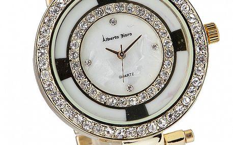 Dámske zlato-biele hodinky Bague a Dames s kamienkami