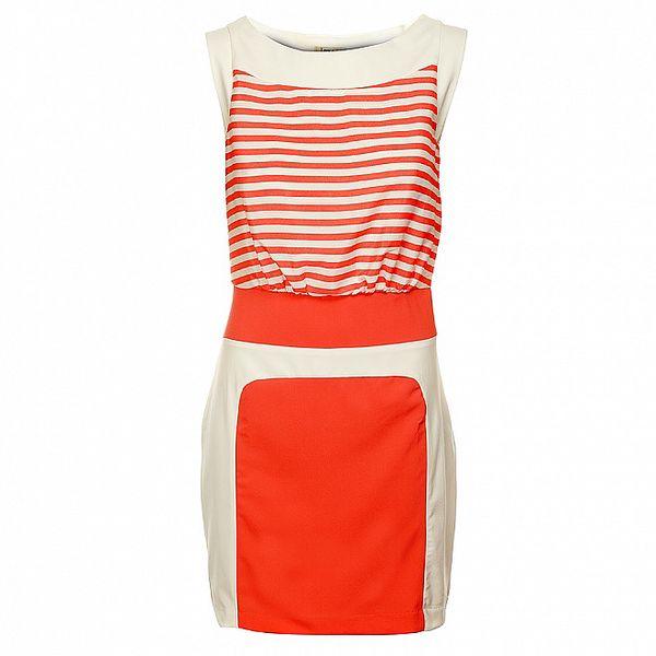 Dámské oranžovo-bílé šaty Lucy Paris s proužky