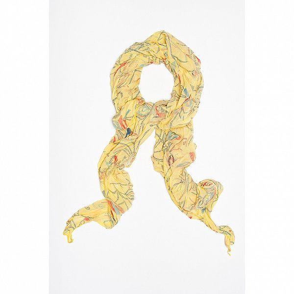 Dámský žlutý šátek s květinovo-čárkovaným vzorem Bella Rosa