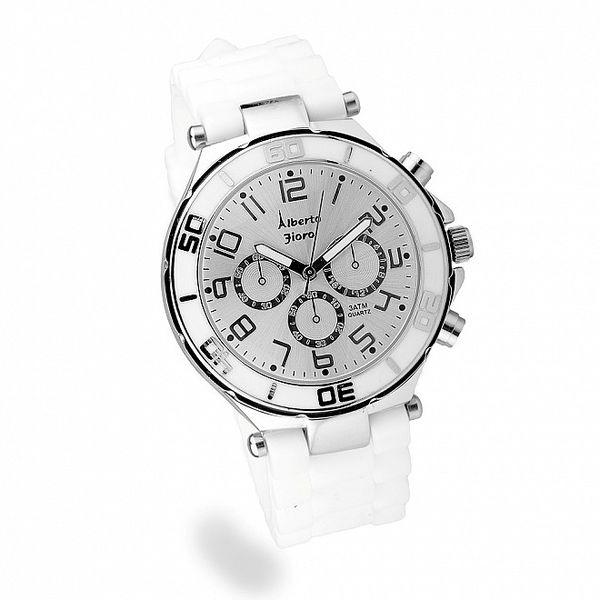 Dámské bílo-stříbrné hodinky Bague a Dames se silikonovým řemínkem