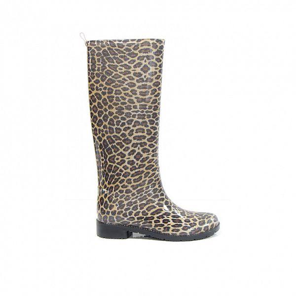 Dámské hnědé vysoké holínky Favolla s leopardím vzorem