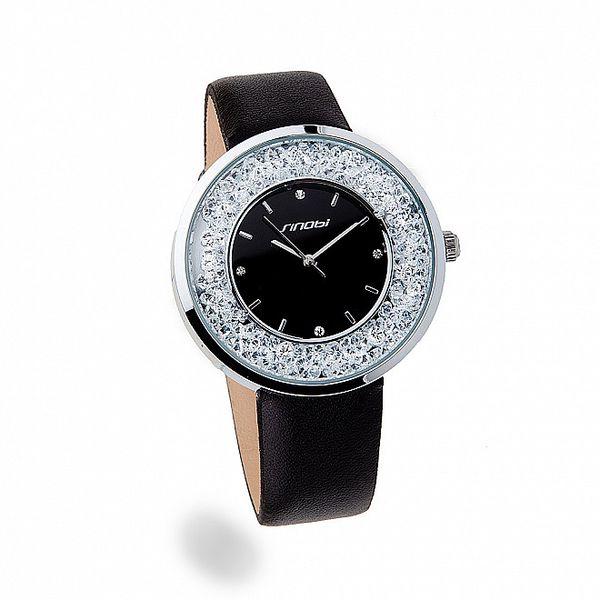 Dámské stříbrné hodinky Bague a Dames s černým řemínkem