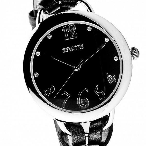Dámske čierne hodinky Bague a Dames s koženým remienkom