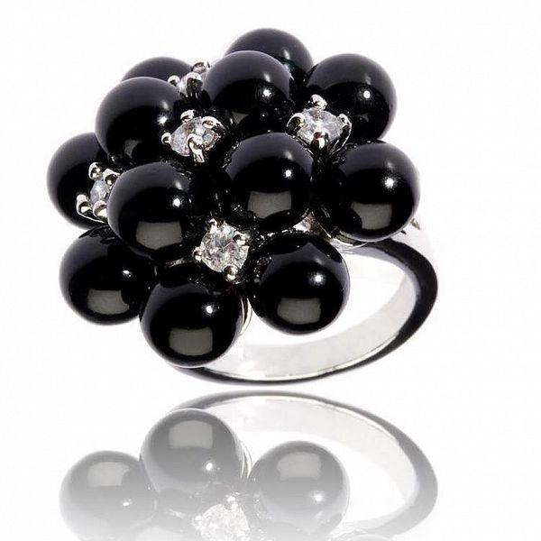 Dámský stříbrný prsten Bague a Dames s černými korálky