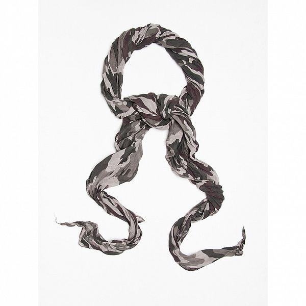 Dámský šedý šátek s military potiskem Bella Rosa