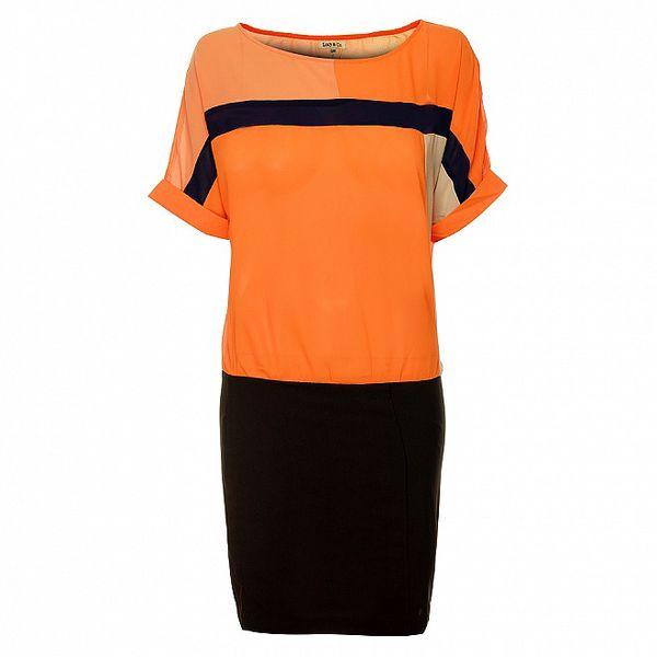 Dámské oranžovo-černé šaty Lucy Paris
