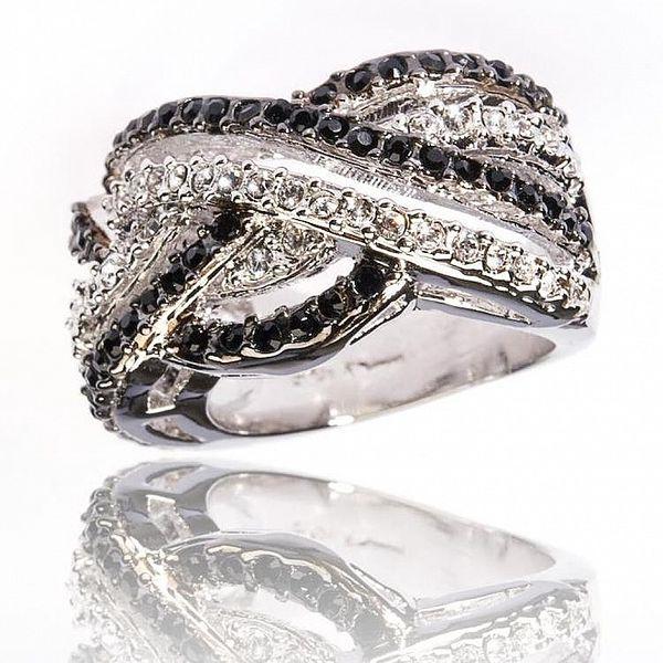 Dámský stříbrný prsten Bague a Dames s bílými a černými zirkony