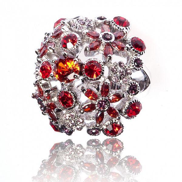 Dámsky strieborný prsteň Bague a Dames s červenými kamienkami