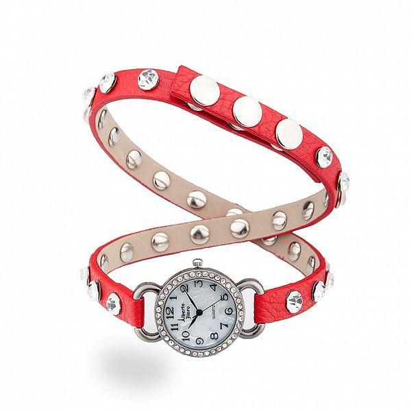 Dámské stříbrné hodinky Bague a Dames s dlouhým červeným řemínkem a kamínky