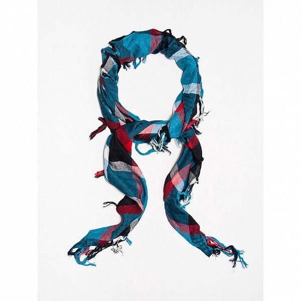 Dámský modrý kostkovaný šátek Bella Rosa