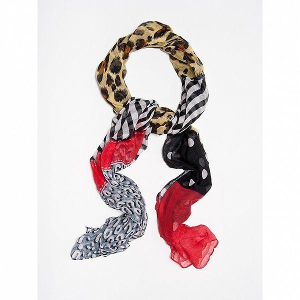 Dámský červeno-černý pestrobarevný šátek Bella Rosa