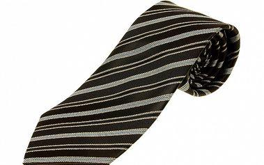 Pánska černo-šedá prúžkovaná kravata Aquascutum