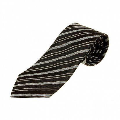 Pánská černo-šedá proužkovaná kravata Aquascutum