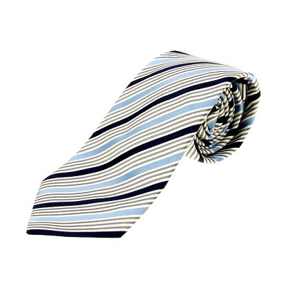 Pánska modro-biela prúžkovaná kravata Aquascutum