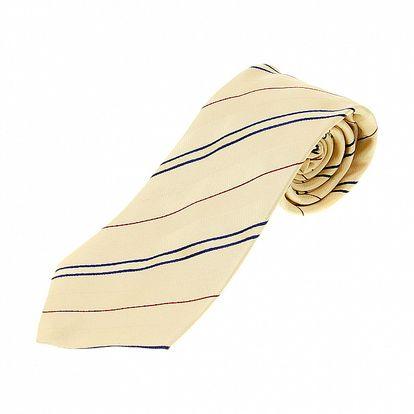Pánska svetlo béžová kravata Aquascutum s prúžkami