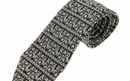 Pánská černá kravata Ballantyne s bílým ornamentálním vzorem