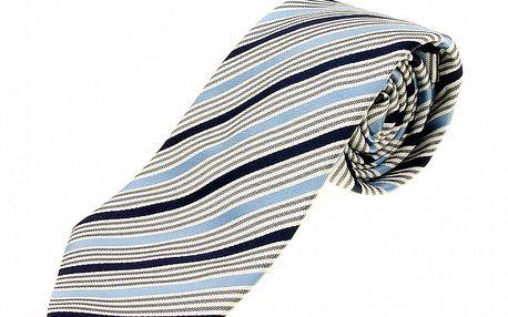 Pánská modro-bílá proužkovaná kravata Aquascutum