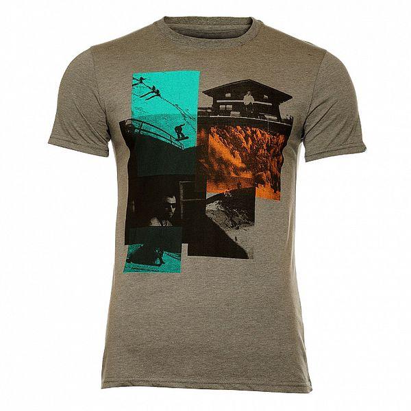 Pánské šedé vintage tričko s vysokohorským potiskem Fundango