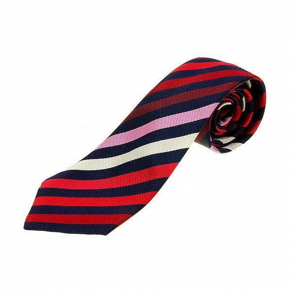 Pánská modro-červená proužkovaná kravata Les Copains