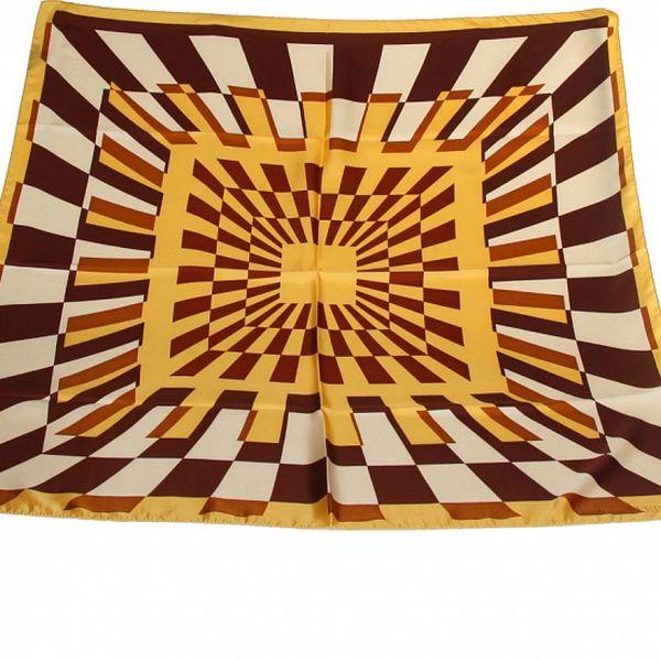 Dámský hnědo-žlutý šátek s potiskem Gianfranco Ferré